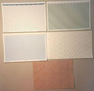 10 sheets 1/24 scale Miniature Dollhouse Wallpaper - 5 patterns - 2 sheets each