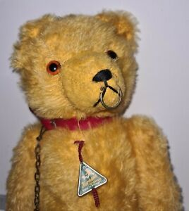 """Hermann Germany Antique Gold Mohair Bear Growl with Collar and Chain 13"""""""