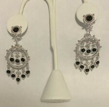 JUDITH RIPKA STERLING SILVER 925 BLACK SPINEL DANGLE CHANDELEIR EARRINGS NR!!!
