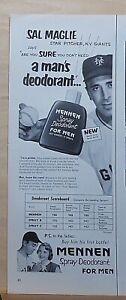 1952 magazine ad for Mennen Spray Deodorant - NY Giants star pitcher Sal Maglie