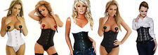 black Satin lace underbust corset and leather look underbust corset plus size