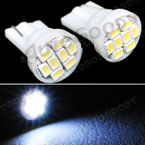 2x WHITE LED Bulbs T10 Side Marker License Plate Lights