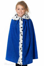 Deluxe Blue King or Queen Cloak Costume Fairytale Medieval Royal Fancy Dress One