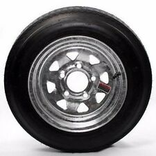 "4.80X12  Bias Trailer Tire Mounted 12"" 5 Lug Galvanized SpokeTrailer Wheel LR B"