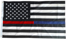 Thin Blue Red Line Police Fire Fighter USA American Embroidered Flag 3X5 Nylon