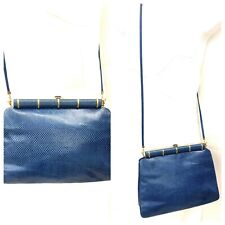 New listing Vintage Judith Leiber Genuine Reptile Blue Crossbody Bag with Paperwork