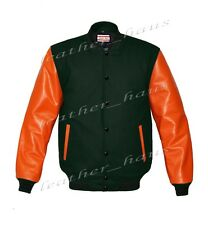 Genuine Leather Sleeve Letterman College Varsity Women Wool Jackets #ORSL-BSTR-