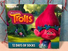 NEW! Dreamworks Trolls 12 Days of Socks Advent Calendar Girls *Shoe Size 10-4*