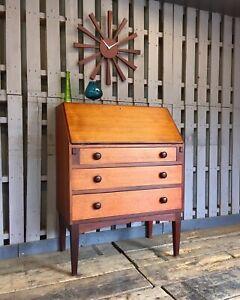 Teak Mid Century Bureau Home Desk Cabinet Vintage Sideboard Danish Influenced