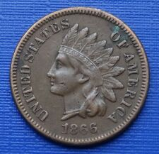 More details for united states one cent coin, 1866 indian head, bronze 3.1g~km#90a~vf/scarce~x014