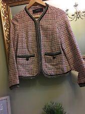 ZARA Pink Tweed Blazer Jacket WITH Chain Trims Size MEDIUM❤️BNWT