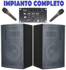 "IMPIANTO AUDIO KARAOKE AMPLIFICATO 900W : casse 10"" + 1 mixer + 2 microfoni"