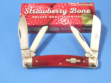 """ROUGH RIDER RR1503 LARGE CONGRESS Red Strawberry Bone knife 4 1/8"""" closed NEW!"""