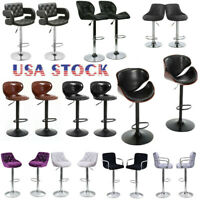 Set of 2 Bar Stools PU Leather Modern Hydraulic Swivel Dinning Chairs USA