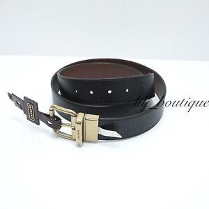 NWT Coach F12189 Men's Roller Cut to Size Reversible Belt 38mm Black Saddle $178