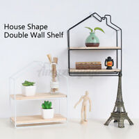 Double Layer Wooden Rack Wall Hanging Storage Shelf Metal Wire Floating Shelves