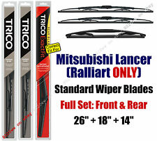 Wipers 3pk Front Rear fit 2010+ Mitsubishi Lancer RALLIART ONLY 30260/180/14B