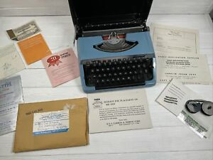 Vintage Brother Charger 11 Portable Typewriter Blue Japan Manual keys correction