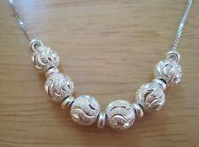 Giani Bernini~Sterling Silver~Diamond Cut Ball Pendant~Shiny Box Chain Necklace