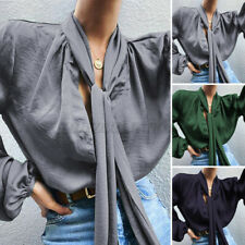 Womens Puff Sleeve Bow-Tie Neck Ruffle Shirts Casual V Neck Party OL Blouse Tops