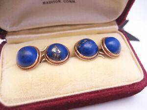 Antique Edwardian Art Deco era 14K Gold Lapis Lazuli Cufflinks Buttons Dbl-Sd