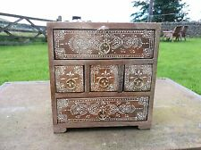 Hand Painted 5 Drawer Mini Chest, Natural Wood, Wooden,Fair Trade, Made in India