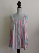 Trixie & Lulu Tank Top Clear Sequins Pink Gray Turquoise Stripes Racerback L EUC