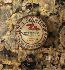 """1930's Scarce Eucryl Tooth Powder Sample 1.5"""" Diameter"""