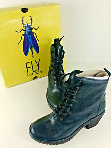 FLY LONDON ~ Size 7.5 ~ WUNE077FLY Leather Zip-up Ankle Biker Womens Boots Black