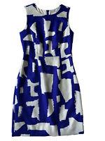 Kate Spade Women's Sleeveless Sheath Silk Dress Blue White Print Zip Back Size 4