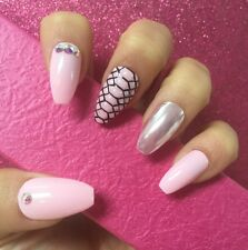 Hand Painted Full Cover False Nails. Coffin/Ballet Pink Chrome Snakeskin Nails