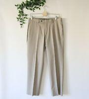Lauren Ralph Lauren Men's Washable Flat Front Dress Pants 32W x 30L Beige Brown