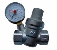 """Water Pressure Reducing Valve 1/2"""" 3/4"""" Female for 15mm & 22mm Pipe with Gauge"""