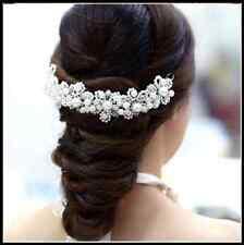 White Pearl Wedding headdress Austrian Crystal Flower Hair Jewelry Head Piece UK