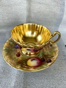 BEAUTIFUL AYNSLEY TEACUP AND SAUCER GOLD BOWL LARGE FRUIT ARTIST SIGNED N. BRUNT