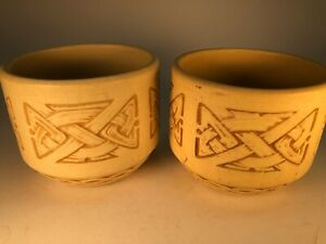 Pair of Weller Clinton Ivory Jardinieres Medium Sized Old Arts Crafts Pottery