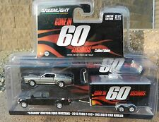 1:64 GreenLight *GONE 60 SECONDS HITCH & TOW* Eleanor F150 Pickup & Trailer NIP!