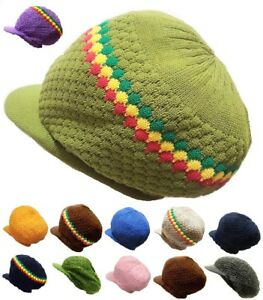 Striped Tall Hat Dreadlocks Rasta Visor Cap Rastafari Jamaica Tam Marley Roots