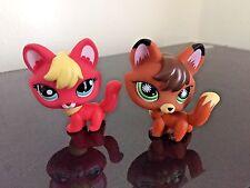 2 pcs Littlest Pet Shop Fox # 807 Brown #2642 Pink Fox Blue Dot Eyes USA Seller