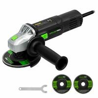 "Powerful 120V Right Angle Grinder 6Amp 4-1/2"" with 2 Grinding & Cutting Wheels"