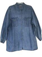 Faded Glory Women's 16 W Blue jean cotton denim shirt jacket Mock Neck, Slits