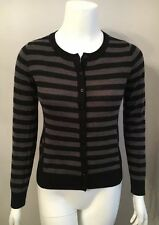 Stunning The Limited Black Gray Striped Polka Dot Cardigan Sweater Size S