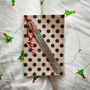 HANDMADE BOOKMARK HAND STAMPED GIFT CHRISTMAS CANDY CANE SWEET LIKE SEXY SANTA
