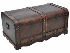 Vintage Large Wooden Treasure Chest Brown Trunk Storage Antique LOOK Industrial