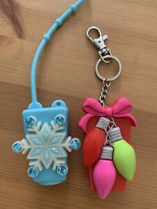 Bath and Body Works Snow Flakes And Christmas Ornaments 2Pocket Sanitizer Holder