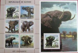 R.GUINEE- Elephants-2002-1 M/Sh.+1 S/Sh. MNH**,RG 5