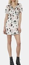 Topshop Natural Washed Rose Floral Polka Dot Spotty Satin Vtg Tea Dress 10 6 38