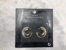 Zara Gold Hoop & Pearl Earrings BNIB