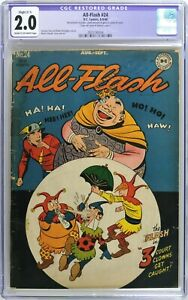 S843 ALL-FLASH #24 DC CGC Restored 2.0 GD (1946) GOLDEN AGE FLASH; 10 Cent Issue