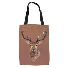 Cute Elk Print Girl Canvas Handbag with Built in Wallet Trendy Book Storage Tote